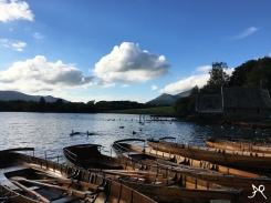 Lake of Derwentwater - view on the Skiddaw Mountain